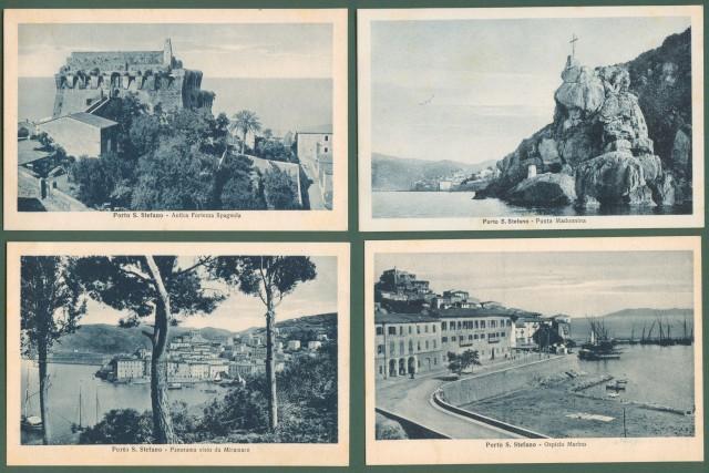 *PORTO SANTO STEFANO, Grosseto. Otto diverse cartoline d'epoca, edizioni Ballini, circa 1930