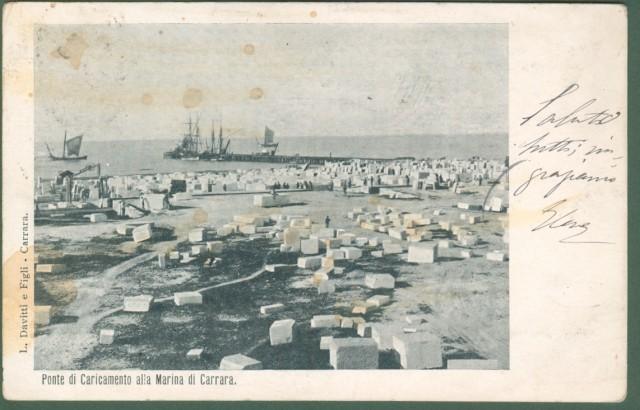 *CARRARA. Marina di Carrara. Ponte di caricamento. Cartolina d'epoca viaggiata nel 1905