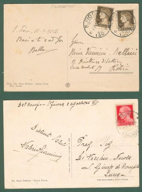 *SANTA FIORA, Grosseto. Due cartoline d'epoca viaggiate nel 1932 e nel 1936