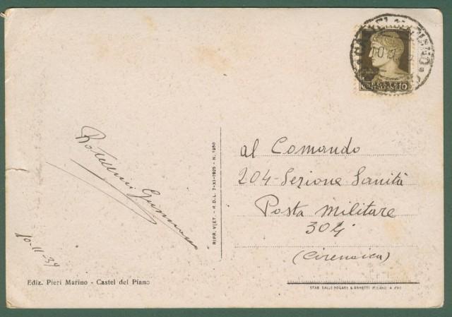 *CASTEL DEL PIANO, Grosseto. Viale Imberciatori. Cartolina d'epoca viaggiata nel 1939