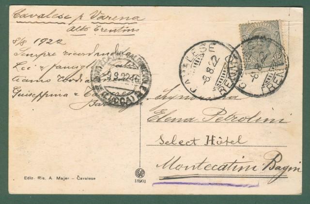 VARENA. Fiemme (Trento). Trentino. Cartolina d'epoca viaggiata nel 1922.