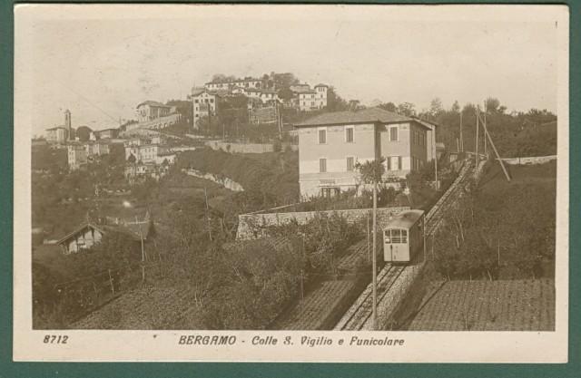 BERGAMO. Colle S. Vigilio e Funicolare. Cartolina d'epoca viaggiata nel 1923.