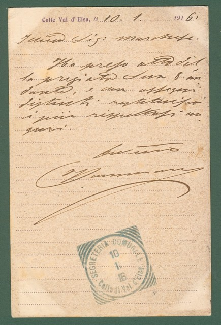 COLLE VAL D'ELSA (Siena). Cartolina d'epoca viaggiata nel 1916.