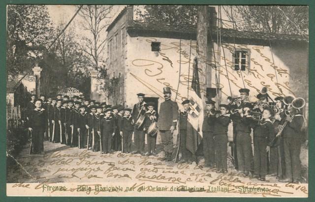 FIRENZE. Asilo Nazionale per gli Orfani dei Marinai Italiani. Sfilamento. Cartolina d'epoca viaggiata nel 1914.