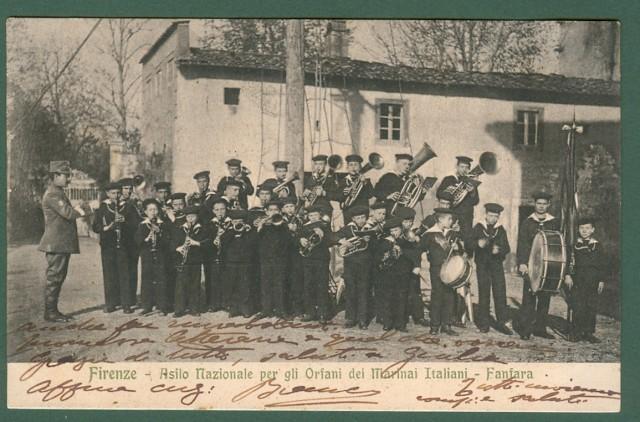 FIRENZE. Asilo Nazionale per gli Orfani dei Marinari Italiani. Fanfara. Cartolina d'epoca viaggiata nel 1913.