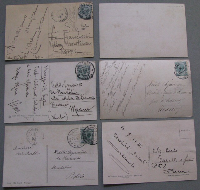VIAREGGIO (Lucca). Sei cartoline d'epoca di cui 5 viaggiate tra il 1911 e il 1933.