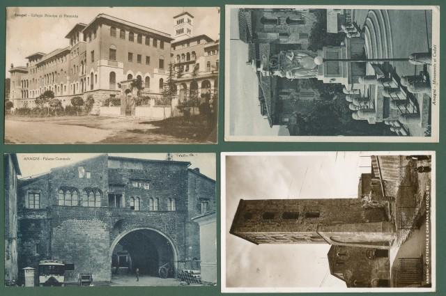 Lazio. ANAGNI, Frosinone. Quattro cartoline d'epoca viaggiate tra 1938-1942
