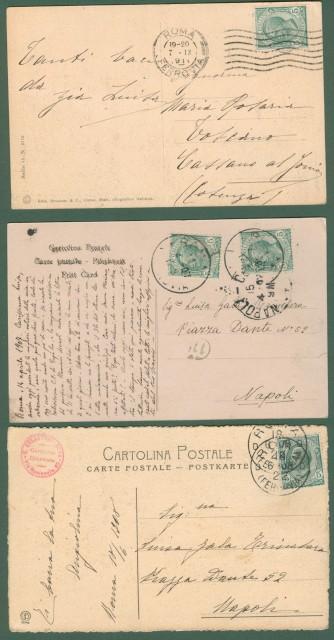 Lazio. CAMPAGNA ROMANA. Tre cartoline d'epoca viaggiate tra il 1907-1911