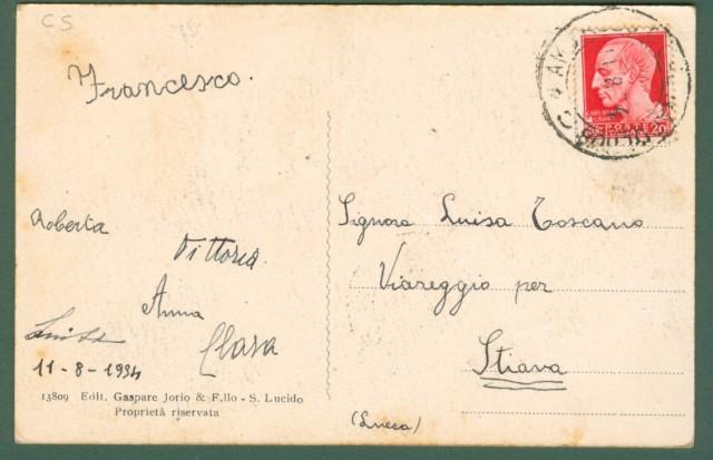 Calabria. SAN LUCIDO, Cosenza. Panorama. Cartolina d'epoca viaggiata nel 1934
