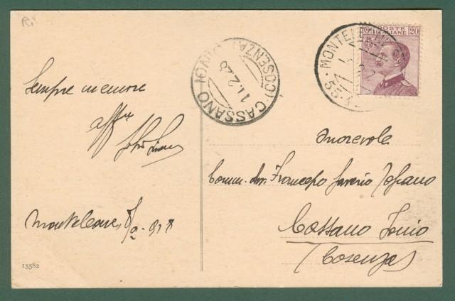Lazio. MONTELEONE SABINO, Rieti. Piazza e chiesa parrocchiale. Cartolina d'epoca viaggiata ne 1928