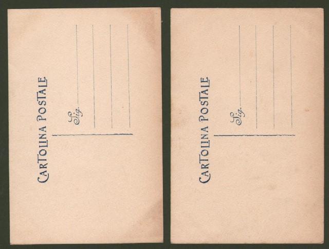 DUE CARTOLINE D'EPOCA disegnate e acquarellate a mano.