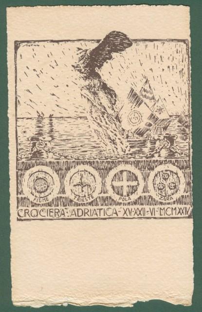 CROCIERA ADRIATICA 1924. Cartolina d'epoca disegnata da Scattina