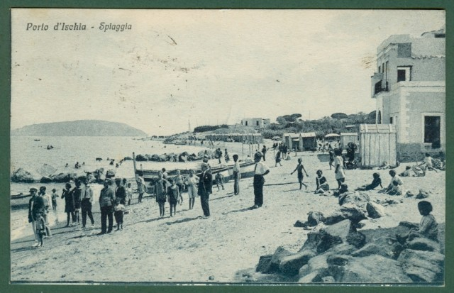 CAMPANIA. ISCHIA, (Napoli). Spiaggia. Cartolina d'epoca viaggiata nel 1928