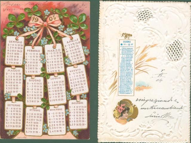 DUE CARTOLINE D'EPOCA CON CALENDARIO, viaggiate nel 1904