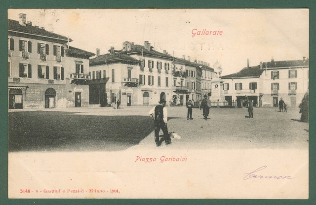 Lombardia. GALLARATE, Varese. Piazza Garibaldi. Cartolina d'epoca viaggiata nel 1904.