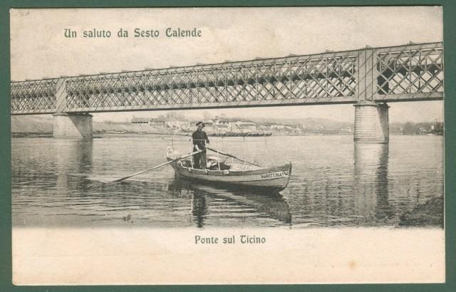 Lombardia. SESTO CALENDE, Varese. Ponte sul Ticino. Cartolina d'epoca viaggiata nel 1908