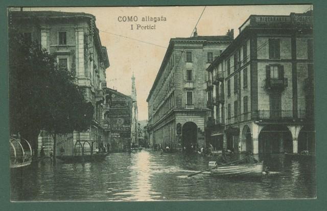 Lombardia. COMO allagata. Cartolina d'epoca viaggiata nel 1921