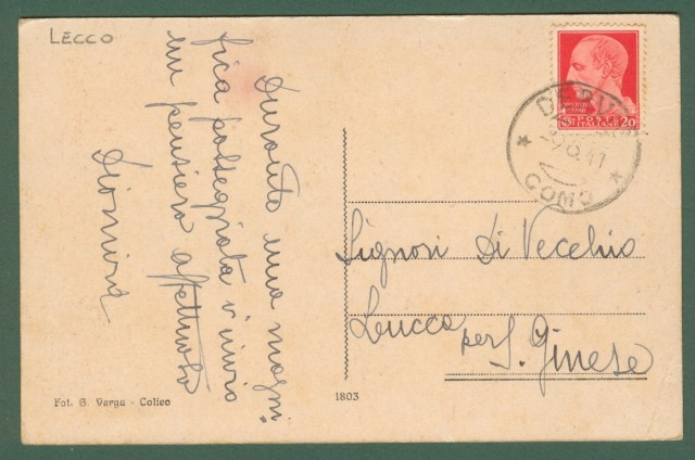 Lombardia. TREMENICO, Lecco. Cartolina d'epoca viaggiata nel 1941.