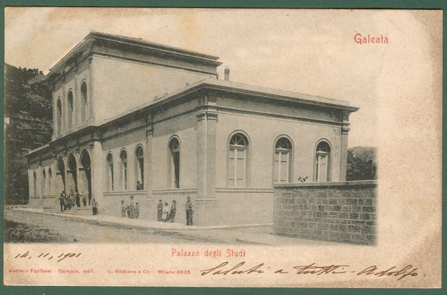 GALEATA, Forlì. Palazzo degli Studi. Cartolina d'epoca viaggiata nel 1901.