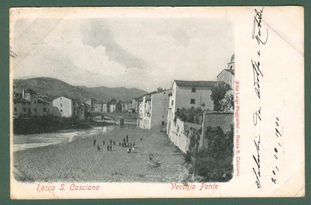 ROCCA SAN CASCIANO, Forlì. Vecchio Ponte. Cartolina viaggiata nel 1901.