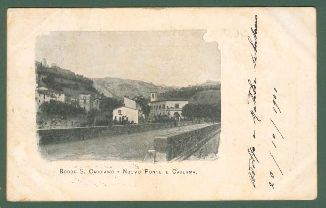 ROCCA SAN CASCIANO, Forlì. Nuovo Ponte e Caserma. Cartolina viaggiata nel 1901.