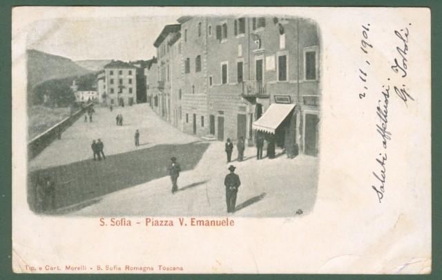 S. SOFIA, Forlì. Piazza V. Emanuele. Cartolina viaggiata nel 1901.