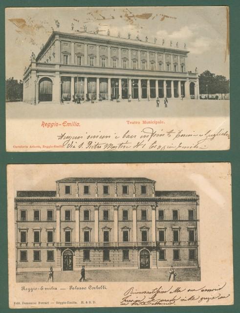 REGGIO EMILIA. 2 cartoline d'epoca viaggiate nel 1902.