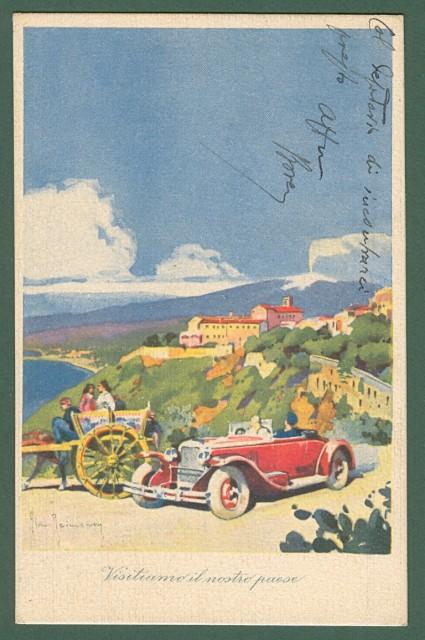 LAMPO BENZINA SUPERIORE. Cartolina d'epoca a colori.
