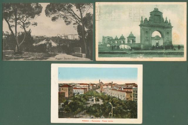 FOGGIA. 3 cartoline d'epoca viaggiate tra il 1915 e il 1931.