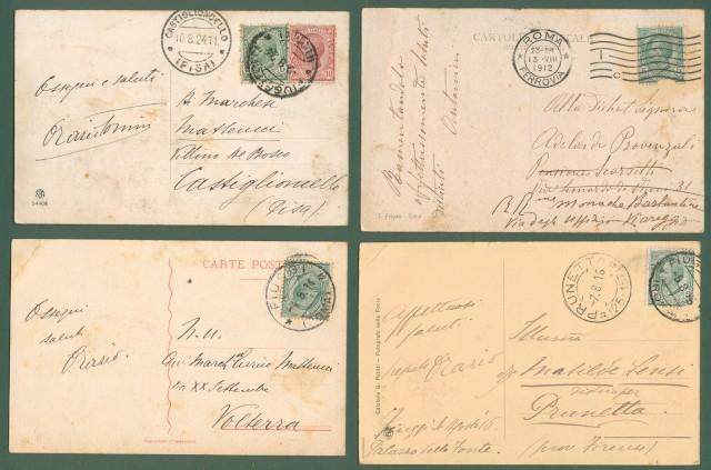 FIUGGI (Roma). 4 cartoline d'epoca viaggiate tra il 1912 e il 1924.