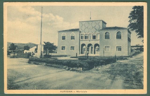 Friuli-Venezia Giulia. AURISINA (Trieste). Municipio, cartolina d'epoca viaggiata nel 1948.