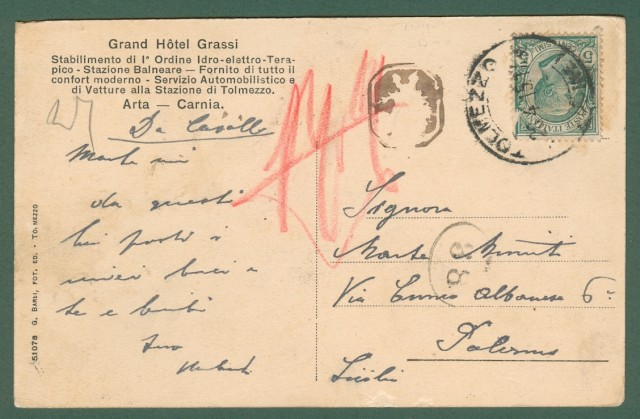 Friuli-Venezia Giulia. FORMEASO (Udine). Cartolina d'epoca viaggiata nel 1915.