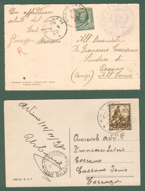Friuli-Venezia Giulia. PORDENONE. Due cartoline d'epoca viaggiate nel 1920 e 1938.