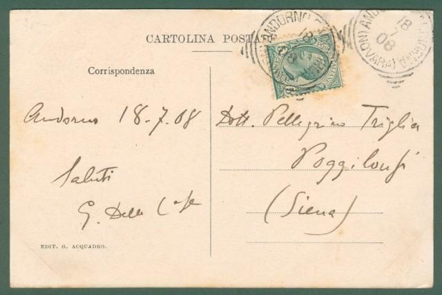 Piemonte. ANDORNO, Novara. Strada frazione Colma. Cartolina d'epoca viaggiata nel 1908.