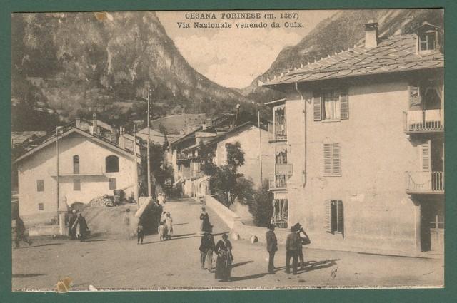 Piemonte. CESANA TORINESE, Torino. Via Nazionale venendo da Ouix. Cartolina d'epoca viaggiata nel 1911.