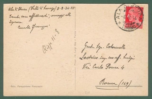 Piemonte. ALA DI STURA, Torino. Piazza e Chiesa. Cartolina d'epoca viaggiata nel 1934.