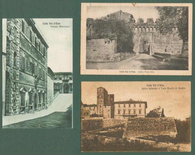 Toscana. COLLE VAL D'ELSA. Firenze. Tre cartoline d'epoca (due viaggiate nel 1929)