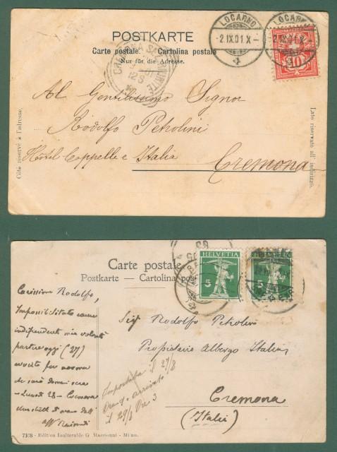 SVIZZERA. BRISSAGO, lago Maggiore, Canton Ticino. Due cartoline d'epoca viaggiate nel 1901 e 1905