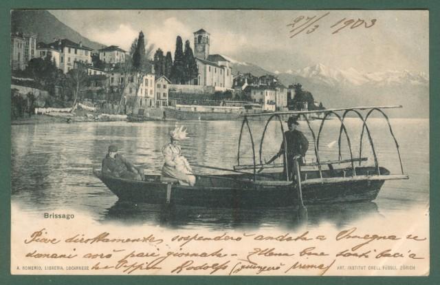 SVIZZERA. BRISSAGO, lago Maggiore, Canton Ticino. Cartolina d'epoca viaggiata nel 1903