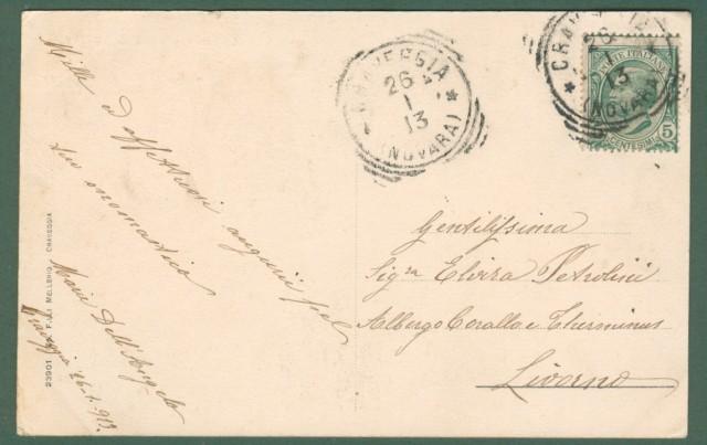Piemonte. CRAVEGGIA, Verbania. Piazza S. Marta. Cartolina d'epoca viaggiata nel 1913