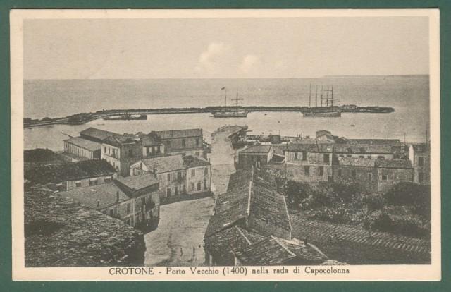Calabria. CROTONE. Porto vecchio. Cartolina d'epoca viaggiata nel 1936