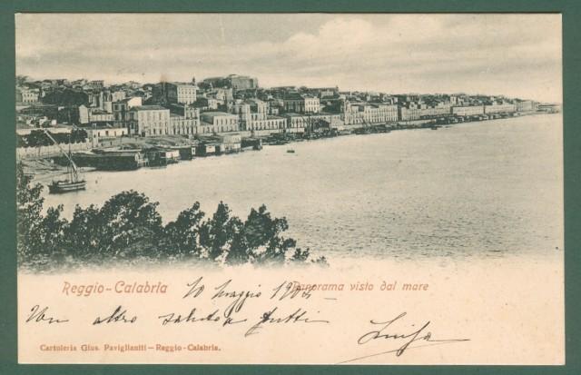 Calabria. REGGIO CALABRIA. Panorama. Cartolina d'epoca viaggiata nel 1904