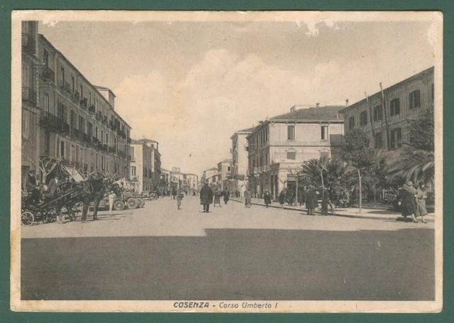 Calabria. COSENZA. Corso Umberto. Cartolina d'epoca viaggiata nel 1934