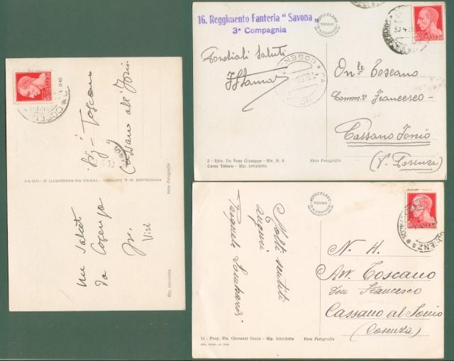 Calabria. COSENZA. Tre cartoline d'epoca formato grande viaggiate nel 1939