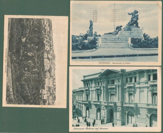 Calabria. CATANZARO. Tre cartoline d'epoca formato grande, viaggiate tra il 1936-1938