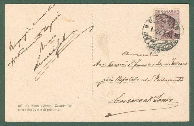 Calabria. CASTROVILLARI, Cosenza. Le Vigne. Cartolina d'epoca viaggiata nel 1927.
