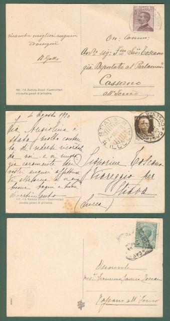 Calabria. CASTROVILLARI, Cosenza. Tre cartoline d'epoca viaggiate nel 1917-1930