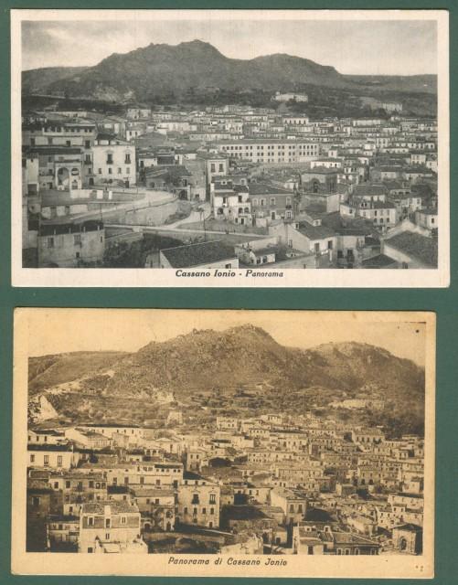 Calabria. CASSANO IONIO, Cosenza. Due diversi panorami. Cartoline d'epoca viaggiate nel 1928 e 1951.