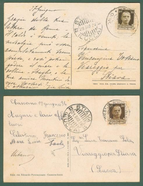 Calabria. CASSANO IONIO, Cosenza. Due panorami. cartolina d'epoca viaggiate nel 1936 e 1939