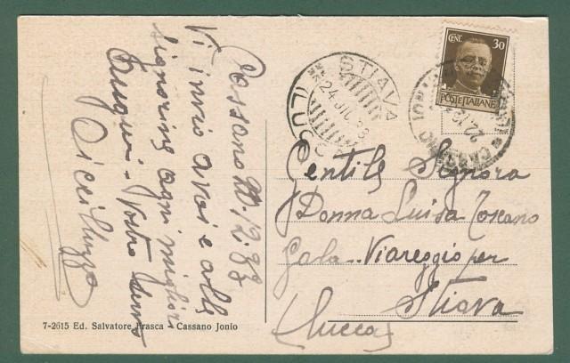Calabria. CASSANO IONIO, Cosenza. Duomo e Corso Garibaldi. Cartolina d'epoca viaggiata nel 1933